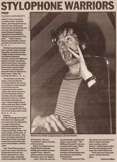 Pulp at Brighton Sussex University, 7 October 1992