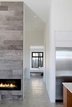 high ceilings concrete fireplace concrete houseporch