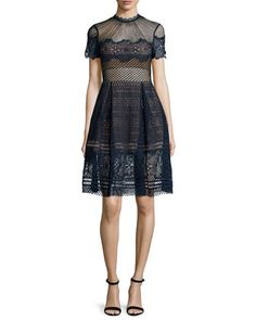 Felicia Embroidered Midi Dress, Navy by Self Portrait at Bergdorf Goodman.