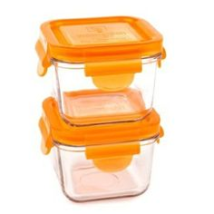 #concours #merehelene 2 Contenants carré en verre (210 ml) - Orange
