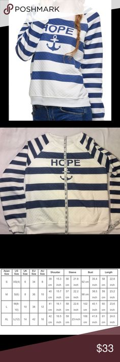 Cute sweatshirt. White and blue striped sweatshirt. Size Asian L. Slim fit. Polyester (lightweight). Please refer to the measurements chart in picture 3. Price is fair and firm. Thanks  Sweaters