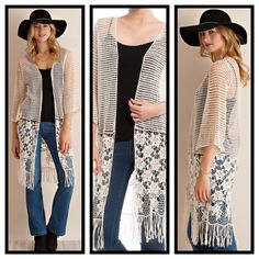 OPEN FLOW CROCHET CARDIGAN IN SANDY BEACH - S/M Gorgeous floral crochet throughout, plus special inset at bottom, followed by all around fringe. Color is Sandy Beach.  3/4 sleeves, a true piece of fashion art.  Sized S/M or M/L only.   This listing is a size S/M luvsmink&more Sweaters Cardigans