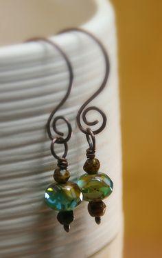 Caramel Skies Czech Glass Beaded Copper Earrings - With Hammered Copper Swirls Copper Jewelry by AllowingArtDesigns on Etsy https://www.etsy.com/listing/100686231/caramel-skies-czech-glass-beaded-copper