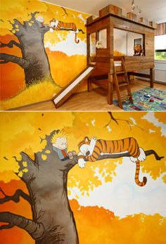 Calvin & Hobbs bedroom. This makes me want to have a kid just so I can do this for it.