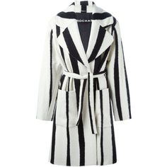 Rochas Striped Coat ($3,358) ❤ liked on Polyvore featuring outerwear, coats, black, rochas, striped coat and black coat