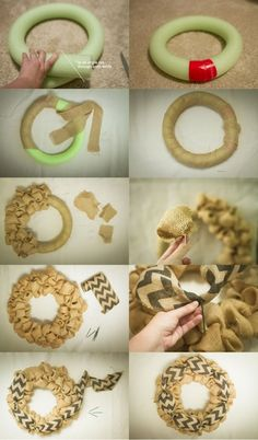 This post is about how I made a burlap wreath base from a pool noodle but if you do not have one lying around you can get a foam wreath circle at the dollar.Cut burlap into squares and start making burlap bubbles.burlap wreath with accent ribbon Burlap Projects, Burlap Crafts, Wreath Crafts, Diy Wreath, Wreath Ideas, Wreath Making, Cute Crafts, Fall Crafts, Crafts To Make