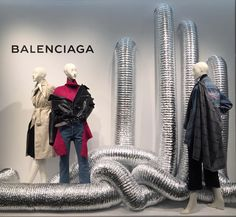 "SAKS FIFTH AVENUE, Boston, Massachusetts, ""Listen Kate... How can you guarantee this Air Conditioning won't act up again?... By not using it, Linda"", for Balenciaga, photo by Connor Matz, pinned by Ton van der Veer Window Display Design, Shop Window Displays, Store Displays, Fashion Window Display, Retail Displays, Retail Windows, Store Windows, Retail Store Design, Retail Stores"