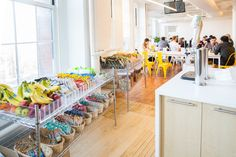 Bright kitchen inside Poppin's New York City office