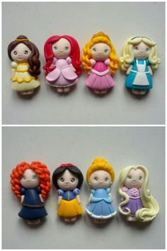 Sugar paste characters, brave,snow white , conferral, rupunsasl, bell, little mermaid , sleeping beauty, and alice
