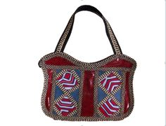HAND-BAG MADE FROM WOVEN ARROW CANE & SYNTHETIC LEATHER