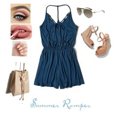 """Summer romper"" by des-81896 on Polyvore featuring Hollister Co., Schutz, Michael Kors and Forever 21"