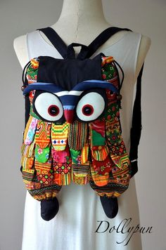 Owl Backpack  Tablet bag Camera Patchwork Handbag by Dollypun, $16.98