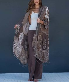 Look what I found on #zulily! Brown Paisley Fringe Cape-Sleeve Cardigan…