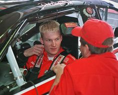 Dale Earnhardt, Jr being talked to by dad