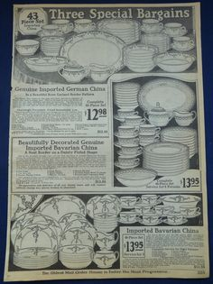 Blue Willow Imported China Dish Sets 1926 Montgomery Ward Catalog Ad | eBay