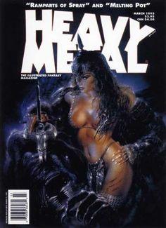 Heavy Metal Magazine - March 1993 (cover by Luis Royo) Fantasy Anime, 3d Fantasy, Fantasy Kunst, Fantasy Warrior, Fantasy Women, Fantasy Girl, Fantasy Artwork, Dark Fantasy, Fantasy Drawings