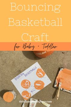 The perfect and simple craft for your basketball loving toddler.  We did this craft as part of our orange week, where we learned all about the color orange through hands-on play! #BasketballCraft #ColorOrange #ToddlerCraft