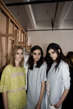 Julia Frauche, Magda Laguinge and Isabella Melo backstage at Rebecca Taylor Spring 2014 Spring 2014, Spring Summer, You're Beautiful, Fashion Images, Rebecca Taylor, Backstage, Compliments, Milan, Hair Makeup