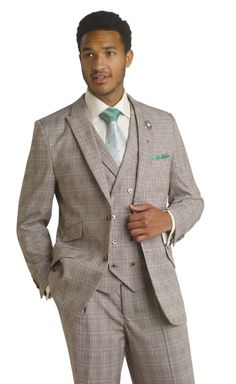 EJ Samuel Mens Chocolate Brown Plaid Double Breasted Formal Dress Suit Best Price Bride Style Idea Modern Upgrade White list budget offer Suits wedding flower man Vest Suit M2663 (48 R) Apparel