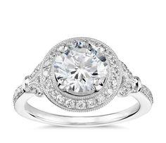 Vintage Floral Halo Diamond Engagement Ring in Platinum