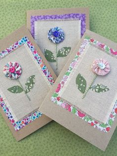Items similar to Handmade liberty tana lawn greetings card suitable for birthday, Mother's day, than Fabric Cards, Fabric Postcards, Paper Cards, Diy Cards, Paper 53, Craft Cards, Vintage Postcards, Embroidery Cards, Free Motion Embroidery