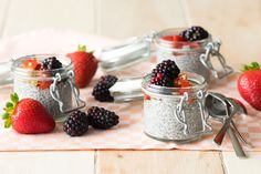 Overnight Chia Seed Pudding (GF and Vegan) Recipe Desserts, Breakfast and Brunch with chia seeds, almond milk, fruit, nuts, seeds, sweetener