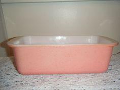 SALE--Vintage pink speckled Pyrex glass loaf pan  203   1 1/2 QT.. $13.00, via Etsy.