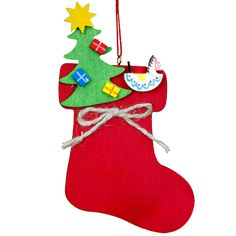 """Christian Ulbricht Decorated Christmas Stocking Christmas Ornament. Christian Ulbricht, Decorated Christmas Stocking Ornament This festive stocking is decorated with various symbols of the season. Made in Germany. Dimensions: Christmas Tree - 0.2"""" L x 2.5"""" W x 4.5"""" H Santa's Head - 0.25"""" L x 2.5"""" W x 3.5"""" H Toy Train - 0.25"""" L x 2.5"""" W x 3.5"""" H Weight: 0.2 lbs. Price: $15.99"""