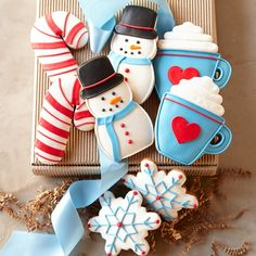 Assorted Winter Cookie Gift Box candy cane, snowflake, mug, snowman