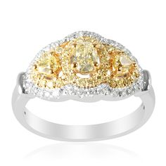 Liquidation Channel: 14K White and Yellow Gold Natural Canary Yellow Diamond and Diamond Ring