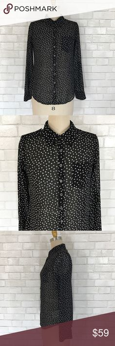 Black polkadot sheer career blouse size S New Black sheer button down Carter blouse size S  Ⓜ️Size S Ⓜ️Bust 38 Ⓜ️Length 25 Ⓜ️Sleeves 24  Mid sheer 100% polyester, polkadot square print, button up front, tab roll up sleeves, lace inside shoulder panel New no tags.  ✅Bundle and save  ✅🚭 🚫No Trading 🙅🏻 Poshmark rules only‼️ Guess Tops Blouses
