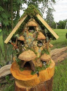 Fairy/Gnome Carved Out Cedar Log Cottage with Cedar by ARTWORKS4ME, $255.00