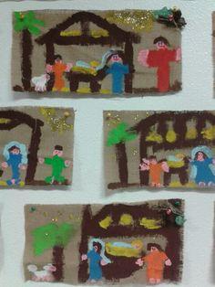 Presepi- pittura su yuta- 5 anni
