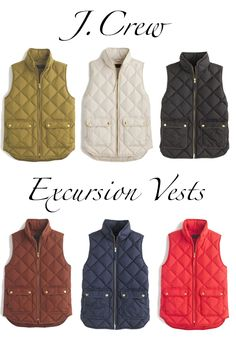 J.Crew Quilted Excursion Vests - Already own this in the off white color but would love some more things to go underneath.