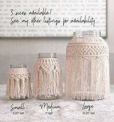 Large DIY Macrame Jar Kit Macrame Hurricane Macrame Vase Source by moreliaviridis Macrame Design, Macrame Art, Macrame Projects, Art Macramé, Creation Deco, Macrame Patterns, Diy And Crafts, Candle Holders, Creations