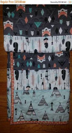 Tribal Modern Crib Quilt, Gender Neutral Crib, Fox Crib Bedding, Aztec Crib Quilt, Arrows, Southwest Crib, Teepees, Trendy, Nature