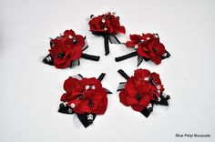 Red and Black Boutonnieres:) #wedding #boutonniere