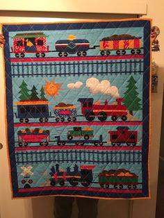 Train baby quilt