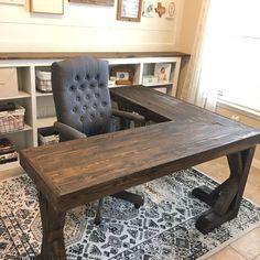 Diy Office Desk, Office Space Decor, Office Furniture Design, Home Office Desks, Office Ideas, Desk Ideas, Office Storage, Rustic Office Desk, Vintage Office