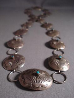 Early Snake Eyes Turquoise Vintage Navajo Concho Belt Necklace Old - Native American Jewelry Nativo Arts