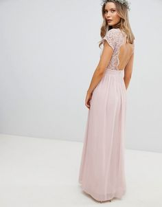 Buy TFNC Maxi Bridesmaid Dress with Scalloped Lace and Open Back at ASOS. With free delivery and return options (Ts&Cs apply), online shopping has never been so easy. Get the latest trends with ASOS now. Beige Bridesmaids, Maxi Bridesmaid Dresses, Wedding Dresses, Maid Of Honour Dresses, Maid Of Honor, Tfnc, Mode Chic, Mode Online, Scalloped Lace