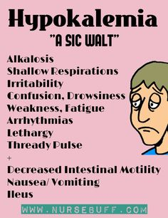 Hypokalemia is a condition where there is an abnormally low level of potassium in the blood. Symptoms include alkalosis, shallow respirations, irritability, confusion, drowsiness, weakness, fatigue arrhythmias, lethargy, thread pulse and decreased intestinal motility. Changes in ECG may also be observed where there will be abnormality in QRS segment. Nursing Cheat Sheet, Nursing Tips, Oncology Nursing, Nursing Mnemonics, Pathophysiology Nursing, Rn School, Fluid And Electrolytes, Nursing School Notes, Nclex
