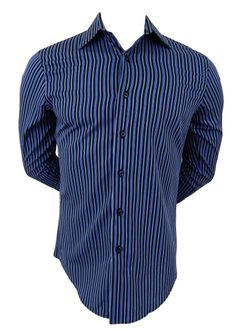 APT 9 Mens Shirt Size S Small Blue & Black Striped Long Sleeve Very Sharp!!! #Apt9 #ButtonFront