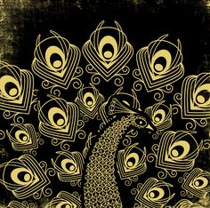 black and gold peacock scratch art