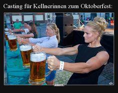 Casting for waitresses for Oktoberfest . Weekend Meme, Acting Exercises, Beer Maid, Beer Girl, Alcohol Humor, Beer Humor, Work Memes, Good Jokes, Gaming Memes