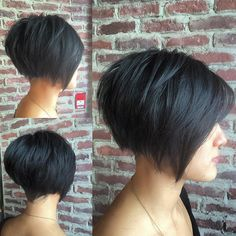 This Black Undercut Bob with Choppy Graduated Layers and Shaved Nape is a great modern cut for someone seeking a chic versatile style. This textured bob can be worn disheveled, wavy, or polished and sleek, with a blowout and flatiron. Its a great style to easily take you from work to play. Styling tips for this choppy undercut bob and other similar short hairstyles and hair color ideas can be found at Hairstyleology.com