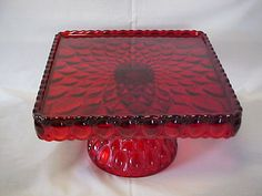 MOSSER GLASS RED PEDISTAL SQUARE CAKE STAND