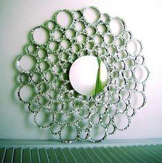 espelho decorado tubo de papelao reciclado
