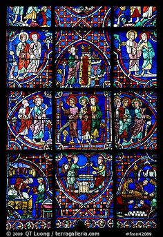 chartres cathedral stained glass   ... /Photo: Detail of stained glass window, Chartres Cathedral. France