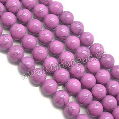 Gemstone beads, Colorful turquoise, Purple, Smooth round, Approx 14mm, Hole: Approx 1.5mm, 28 pieces per strand, Sold by strands